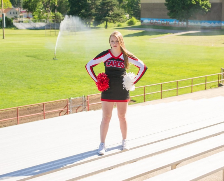 power pose cheer;senior photography madison wi